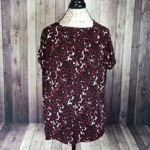 St. John red/black leopard print short sleeve top